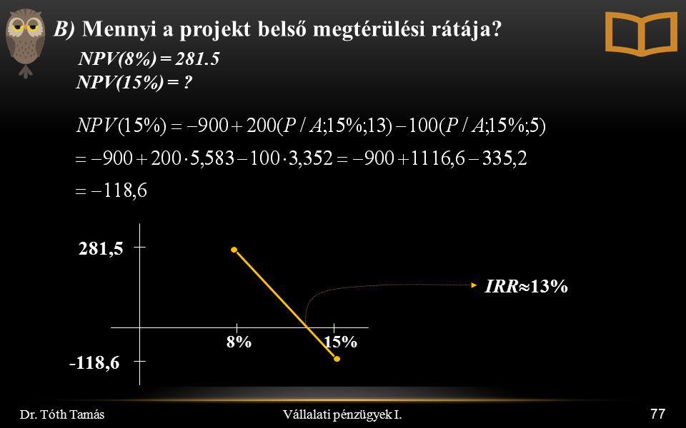 Vállalati pénzügyek I. Dr. Tóth Tamás 77 B) Mennyi a projekt belső megtérülési rátája? NPV(8%) = 281.5 NPV(15%) = ? 8% -118,6 IRR  13% 281,5 15%