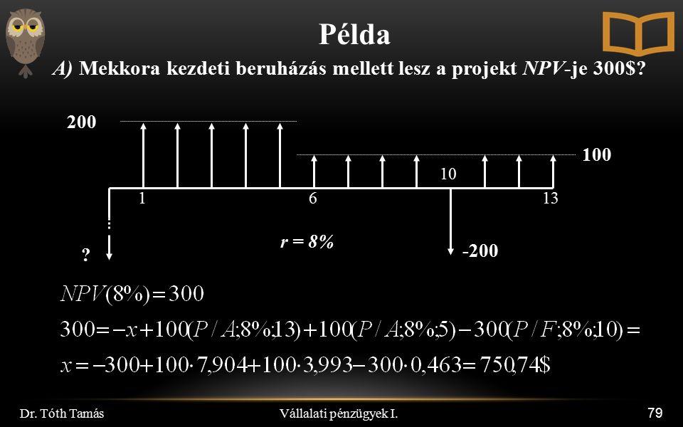 Vállalati pénzügyek I. Dr. Tóth Tamás 79 Példa A) Mekkora kezdeti beruházás mellett lesz a projekt NPV-je 300$? 200 100 r = 8% 1613 ? -200 10
