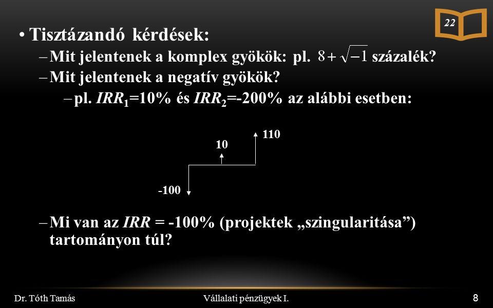 Vállalati pénzügyek I.Dr. Tóth Tamás 59 Példák 1.