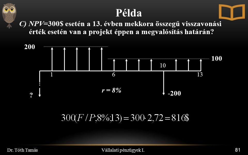 Vállalati pénzügyek I. Dr. Tóth Tamás 81 Példa C) NPV=300$ esetén a 13. évben mekkora összegű visszavonási érték esetén van a projekt éppen a megvalós