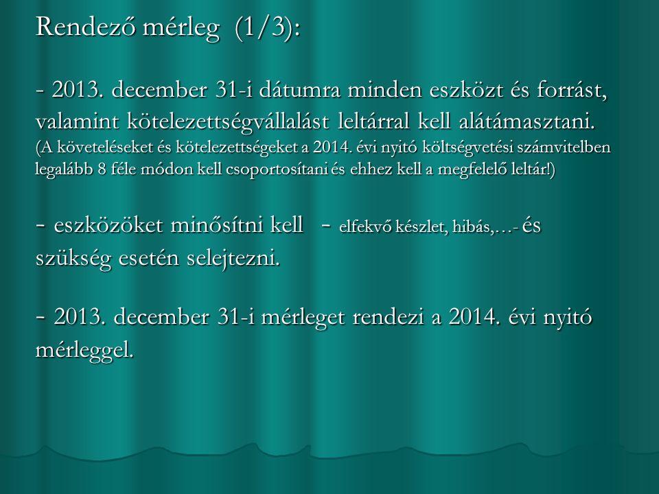 Rendező mérleg (1/3): - 2013.