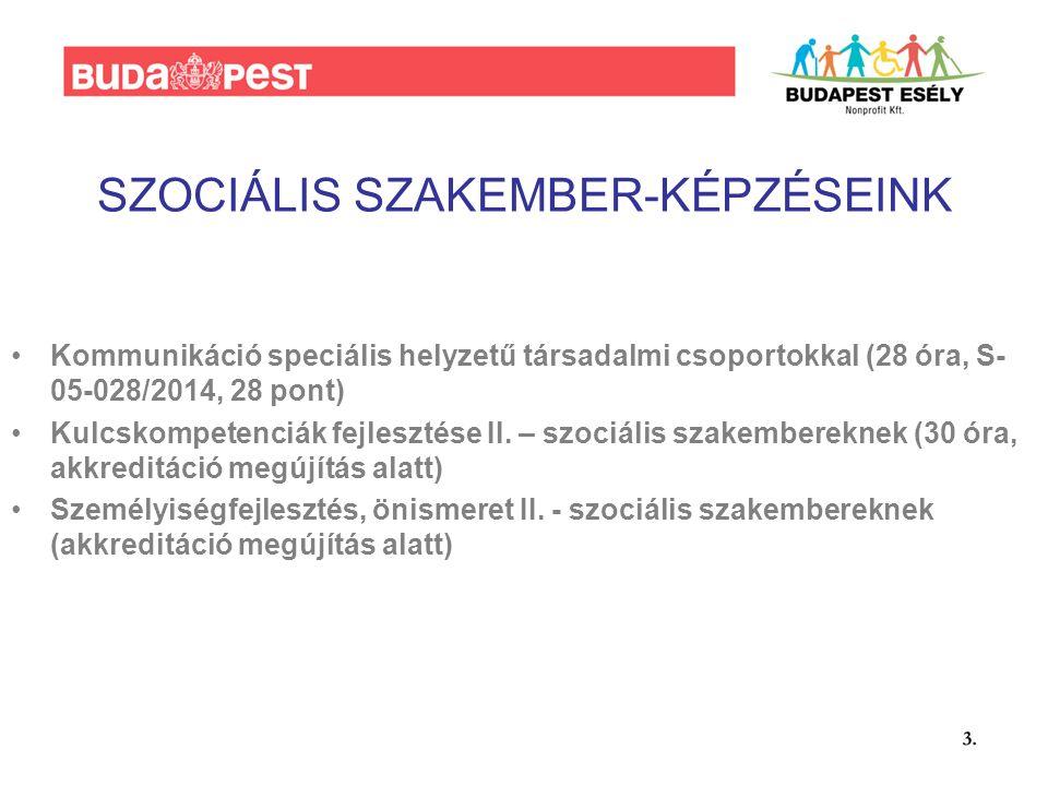 SZOCIÁLIS SZAKEMBER-KÉPZÉSEINK Kommunikáció speciális helyzetű társadalmi csoportokkal (28 óra, S- 05-028/2014, 28 pont) Kulcskompetenciák fejlesztése II.