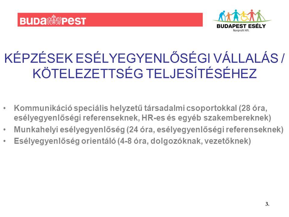 KÉPZÉSEK ESÉLYEGYENLŐSÉGI VÁLLALÁS / KÖTELEZETTSÉG TELJESÍTÉSÉHEZ Kommunikáció speciális helyzetű társadalmi csoportokkal (28 óra, esélyegyenlőségi referenseknek, HR-es és egyéb szakembereknek) Munkahelyi esélyegyenlőség (24 óra, esélyegyenlőségi referenseknek) Esélyegyenlőség orientáló (4-8 óra, dolgozóknak, vezetőknek)