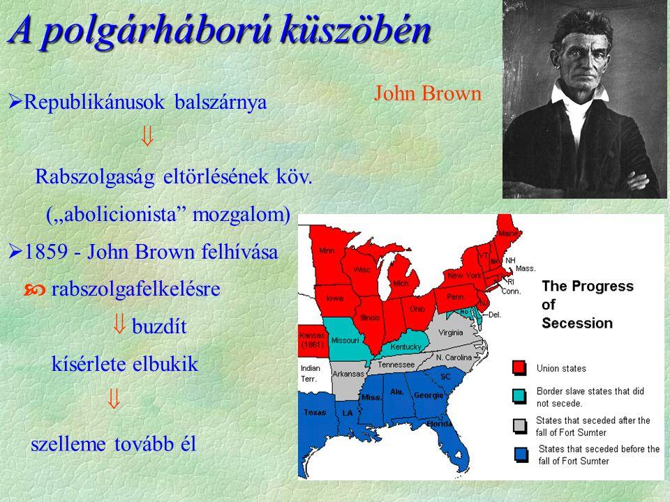 """A polgárháború küszöbén John Brown  Republikánusok balszárnya  Rabszolgaság eltörlésének köv. (""""abolicionista"""" mozgalom)  1859 - John Brown felhívá"""