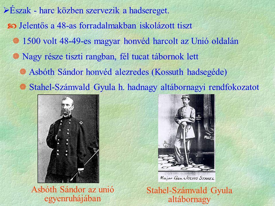  Észak - harc közben szervezik a hadsereget.  Jelentős a 48-as forradalmakban iskolázott tiszt  1500 volt 48-49-es magyar honvéd harcolt az Unió ol