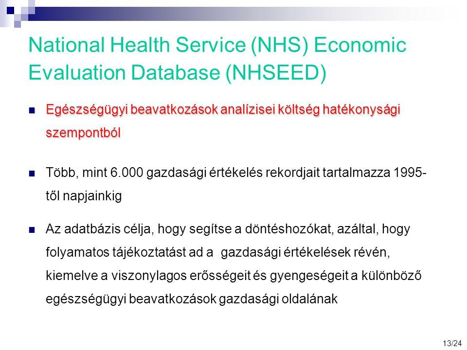 National Health Service (NHS) Economic Evaluation Database (NHSEED) Egészségügyi beavatkozások analízisei költség hatékonysági szempontból Egészségügyi beavatkozások analízisei költség hatékonysági szempontból Több, mint 6.000 gazdasági értékelés rekordjait tartalmazza 1995- től napjainkig Az adatbázis célja, hogy segítse a döntéshozókat, azáltal, hogy folyamatos tájékoztatást ad a gazdasági értékelések révén, kiemelve a viszonylagos erősségeit és gyengeségeit a különböző egészségügyi beavatkozások gazdasági oldalának 13/24