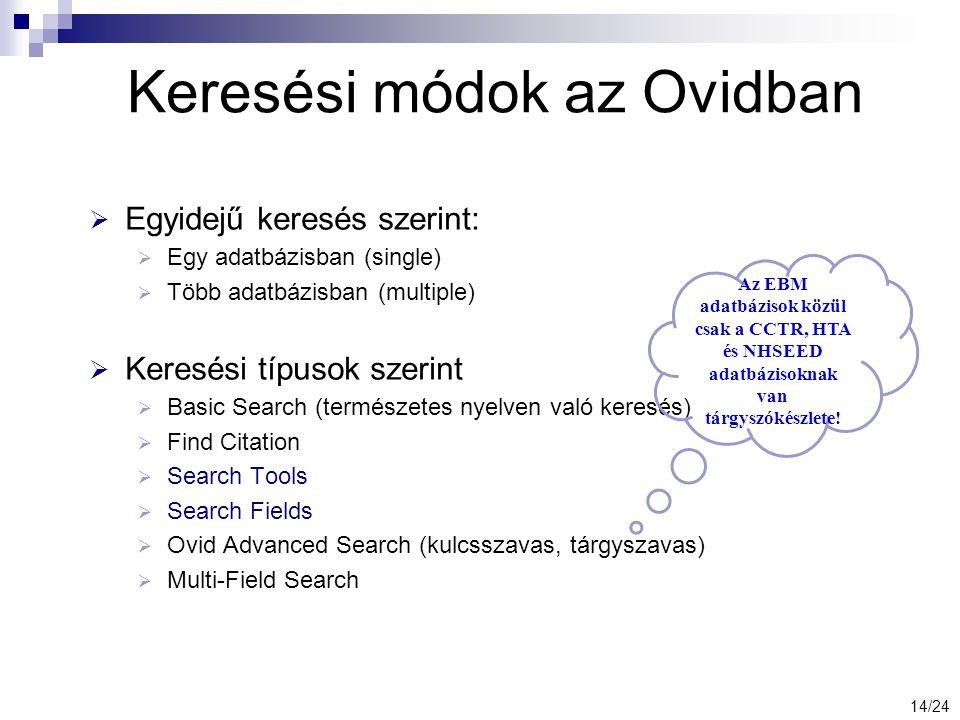 Keresési módok az Ovidban  Egyidejű keresés szerint:  Egy adatbázisban (single)  Több adatbázisban (multiple)  Keresési típusok szerint  Basic Search (természetes nyelven való keresés)  Find Citation  Search Tools  Search Fields  Ovid Advanced Search (kulcsszavas, tárgyszavas)  Multi-Field Search Az EBM adatbázisok közül csak a CCTR, HTA és NHSEED adatbázisoknak van tárgyszókészlete.