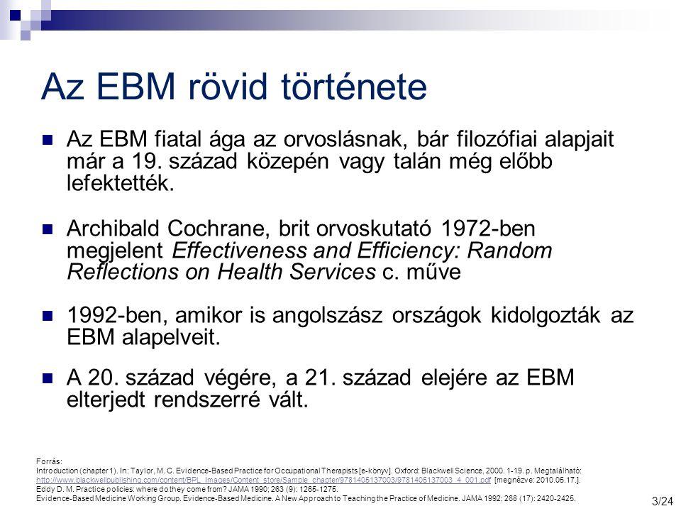 Az EBM rövid története Az EBM fiatal ága az orvoslásnak, bár filozófiai alapjait már a 19.
