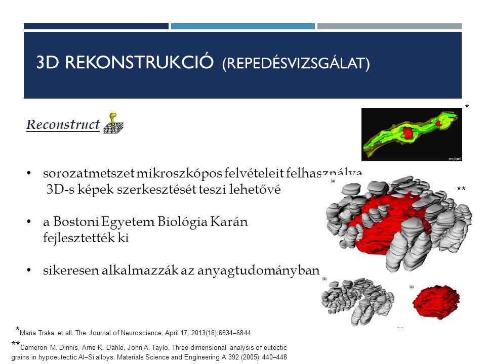 3D REKONSTRUKCIÓ (REPEDÉSVIZSGÁLAT) 25 Reconstruct sorozatmetszet mikroszkópos felvételeit felhasználva 3D-s képek szerkesztését teszi lehetővé a Bostoni Egyetem Biológia Karán fejlesztették ki sikeresen alkalmazzák az anyagtudományban ** Cameron M.