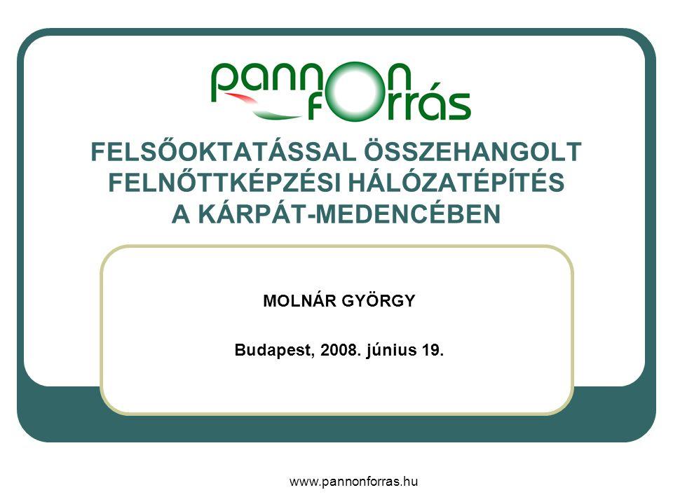 www.pannonforras.hu FELSŐOKTATÁSSAL ÖSSZEHANGOLT FELNŐTTKÉPZÉSI HÁLÓZATÉPÍTÉS A KÁRPÁT-MEDENCÉBEN MOLNÁR GYÖRGY Budapest, 2008.