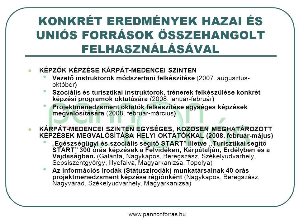www.pannonforras.hu KONKRÉT EREDMÉNYEK HAZAI ÉS UNIÓS FORRÁSOK ÖSSZEHANGOLT FELHASZNÁLÁSÁVAL KÉPZŐK KÉPZÉSE KÁRPÁT-MEDENCEI SZINTEN Vezető instruktoro