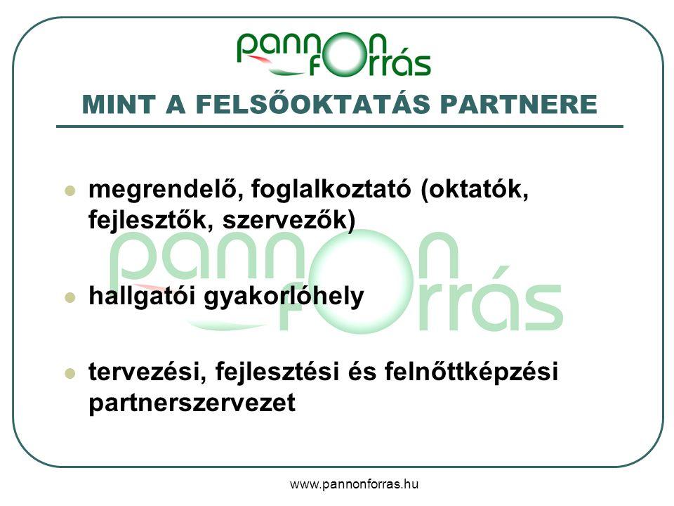 www.pannonforras.hu MINT A FELSŐOKTATÁS PARTNERE megrendelő, foglalkoztató (oktatók, fejlesztők, szervezők) hallgatói gyakorlóhely tervezési, fejlesztési és felnőttképzési partnerszervezet