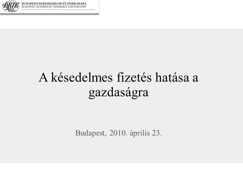 A késedelmes fizetés hatása a gazdaságra Budapest, 2010. április 23.