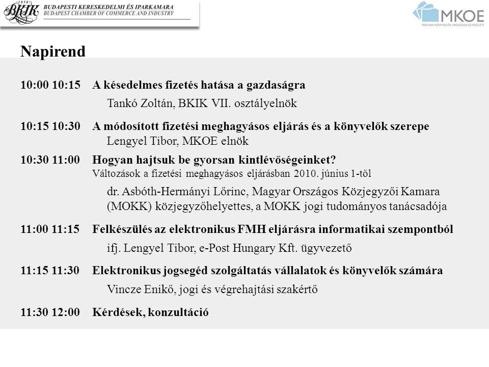 Napirend 10:00 10:15A késedelmes fizetés hatása a gazdaságra Tankó Zoltán, BKIK VII. osztályelnök 10:15 10:30A módosított fizetési meghagyásos eljárás