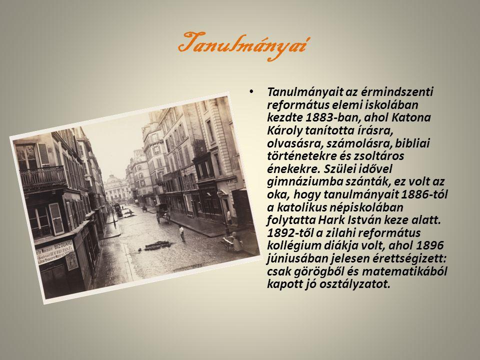 Tanulmányai Tanulmányait az érmindszenti református elemi iskolában kezdte 1883-ban, ahol Katona Károly tanította írásra, olvasásra, számolásra, bibli