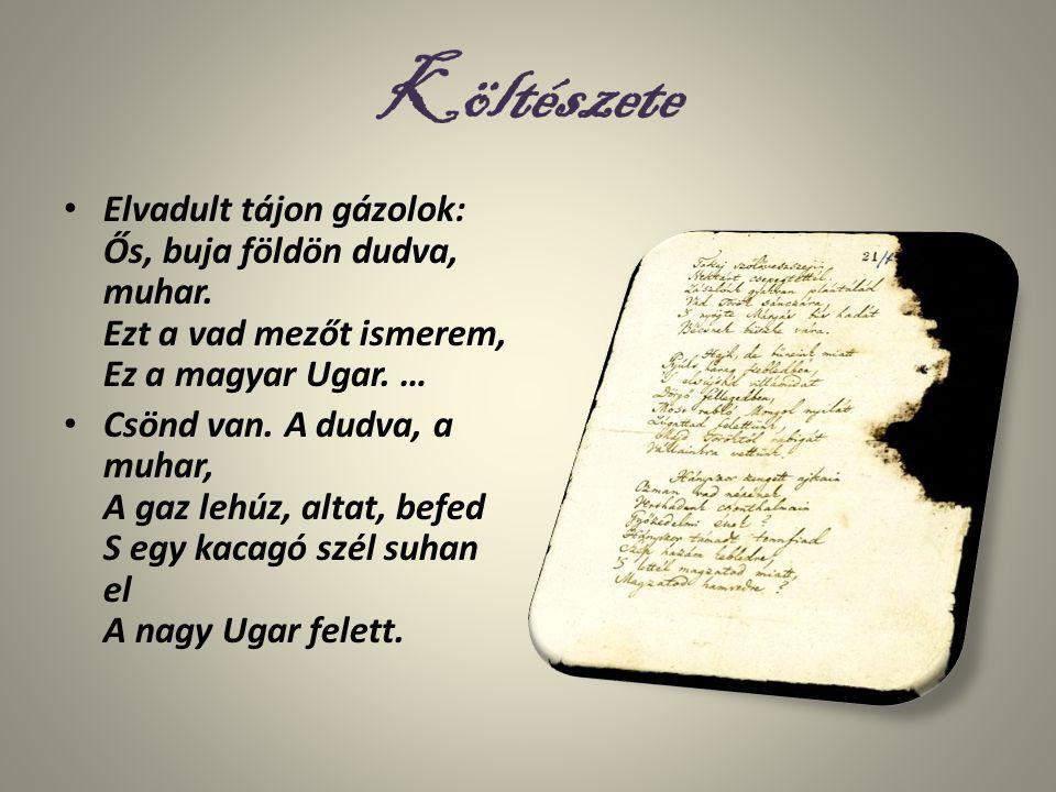 Költészete Elvadult tájon gázolok: Ős, buja földön dudva, muhar. Ezt a vad mezőt ismerem, Ez a magyar Ugar. … Csönd van. A dudva, a muhar, A gaz lehúz