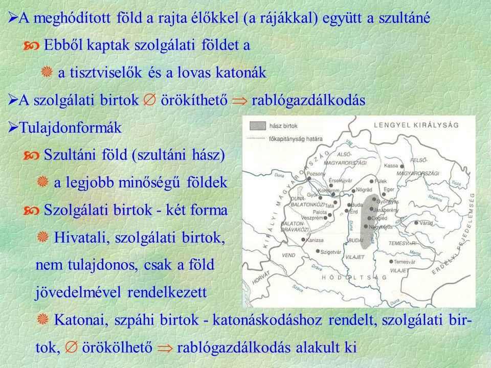  A meghódított föld a rajta élőkkel (a rájákkal) együtt a szultáné  Ebből kaptak szolgálati földet a  a tisztviselők és a lovas katonák  A szolgál