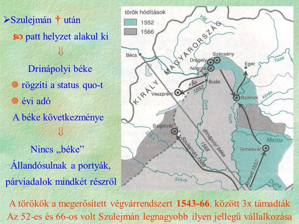 A törökök a megerősített végvárrendszert 1543-66. között 3x támadták Az 52-es és 66-os volt Szulejmán legnagyobb ilyen jellegű vállalkozása  Szulejmá