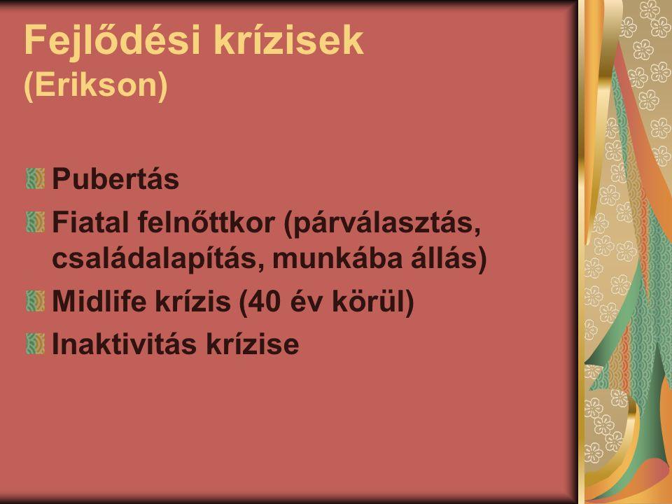Fejlődési krízisek (Erikson) Pubertás Fiatal felnőttkor (párválasztás, családalapítás, munkába állás) Midlife krízis (40 év körül) Inaktivitás krízise