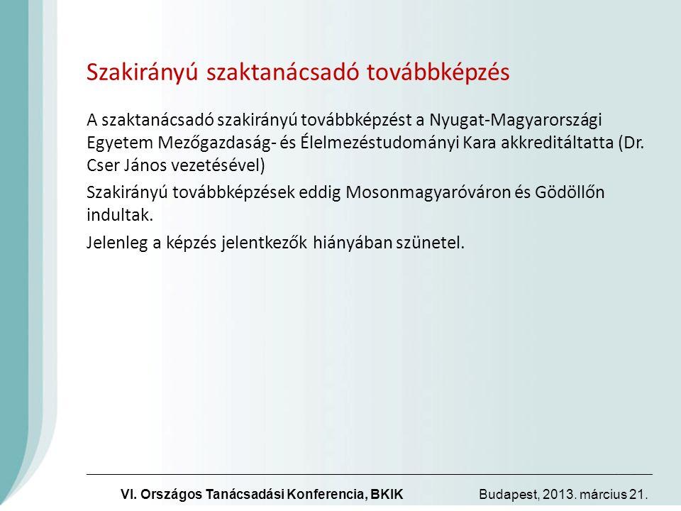 Szakirányú szaktanácsadó továbbképzés A szaktanácsadó szakirányú továbbképzést a Nyugat-Magyarországi Egyetem Mezőgazdaság- és Élelmezéstudományi Kara