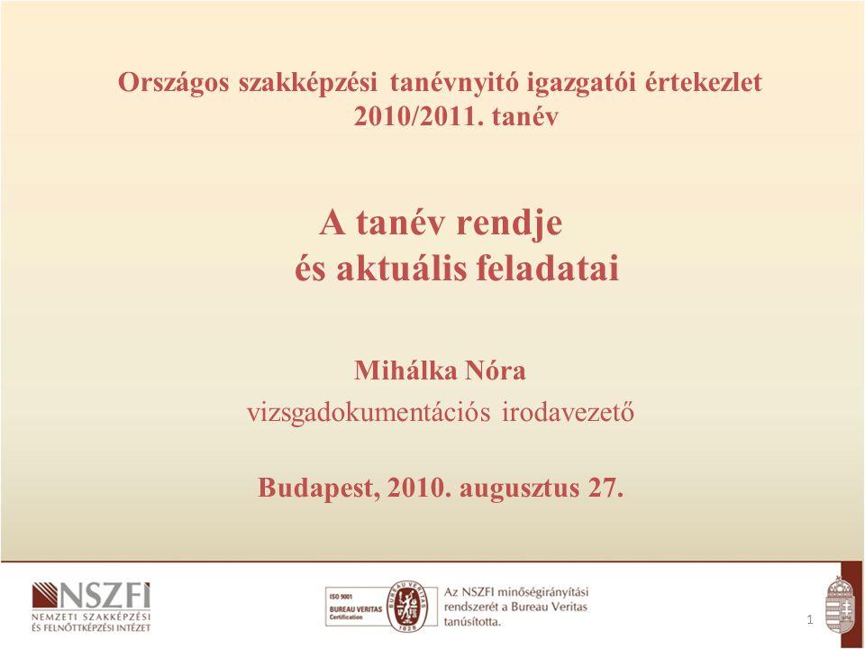2 A tanév, a szorgalmi időszak A szakmai vizsgák rendje A tanulmányi versenyek Országos mérés, értékelés elrendelése 22/2010.