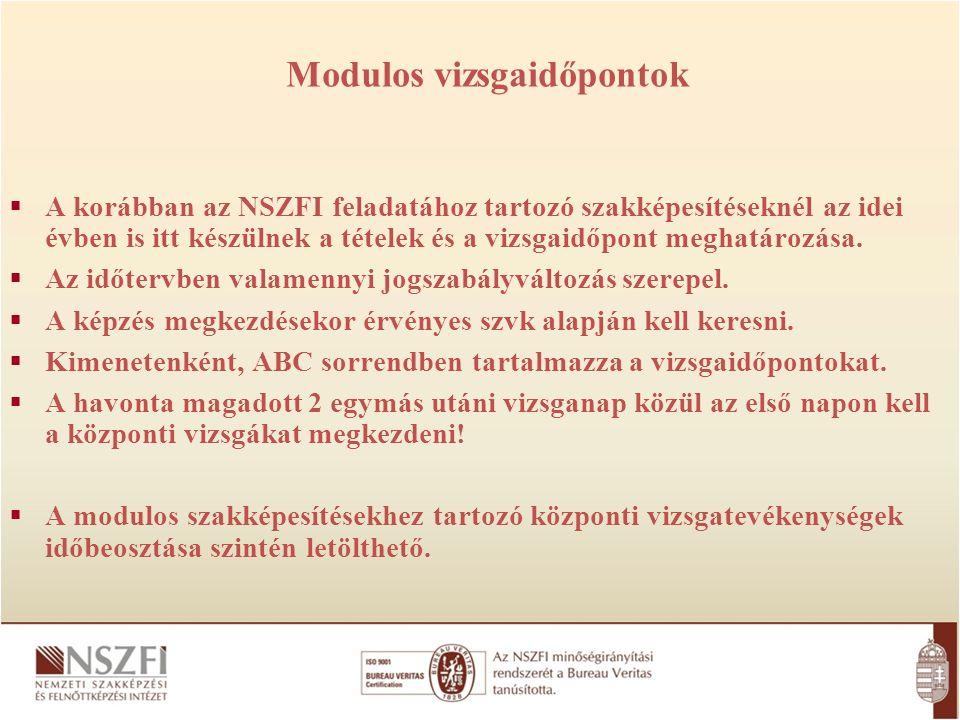 Modulos vizsgaidőpontok  A korábban az NSZFI feladatához tartozó szakképesítéseknél az idei évben is itt készülnek a tételek és a vizsgaidőpont meghatározása.