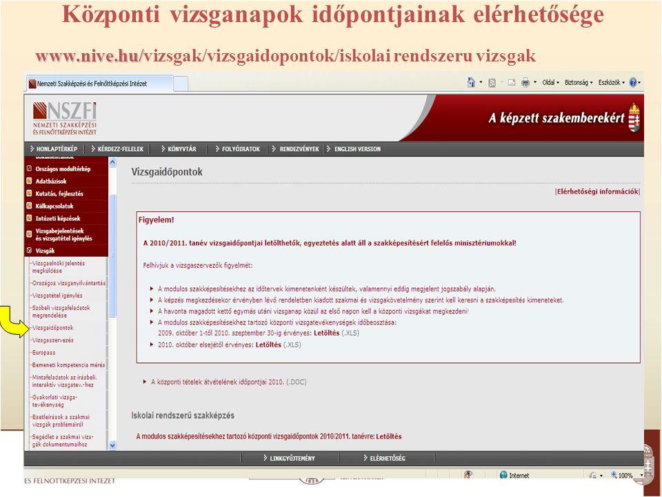 Központi vizsganapok időpontjainak elérhetősége www.nive.hu/ www.nive.hu/vizsgak/vizsgaidopontok/iskolai rendszeru vizsgak