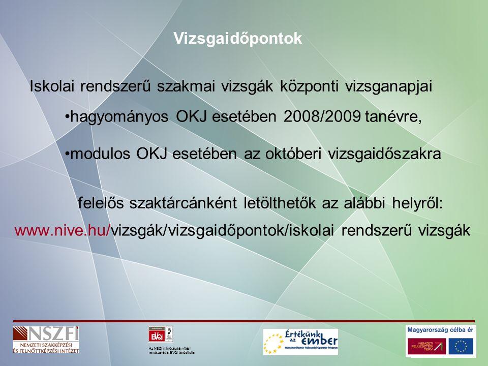 Az NSZI minőségirányítási rendszerét a BVQI tanúsította Iskolai rendszerű szakmai vizsgák központi vizsganapjai www.nive.hu/ www.nive.hu/vizsgák/vizsgaidőpontok/iskolai rendszerű vizsgák Vizsgaidőpontok hagyományos OKJ esetében 2008/2009 tanévre, felelős szaktárcánként letölthetők az alábbi helyről: modulos OKJ esetében az októberi vizsgaidőszakra