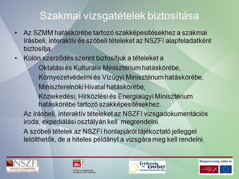 Az NSZI minőségirányítási rendszerét a BVQI tanúsította Szakmai vizsgatételek biztosítása Az SZMM hatáskörébe tartozó szakképesítésekhez a szakmai írásbeli, interaktív és szóbeli tételeket az NSZFI alapfeladatként biztosítja.