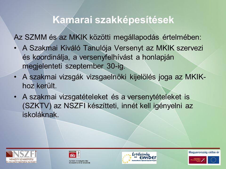 Az NSZI minőségirányítási rendszerét a BVQI tanúsította Kamarai szakképesítések Az SZMM és az MKIK közötti megállapodás értelmében: A Szakmai Kiváló Tanulója Versenyt az MKIK szervezi és koordinálja, a versenyfelhívást a honlapján megjelenteti szeptember 30-ig.