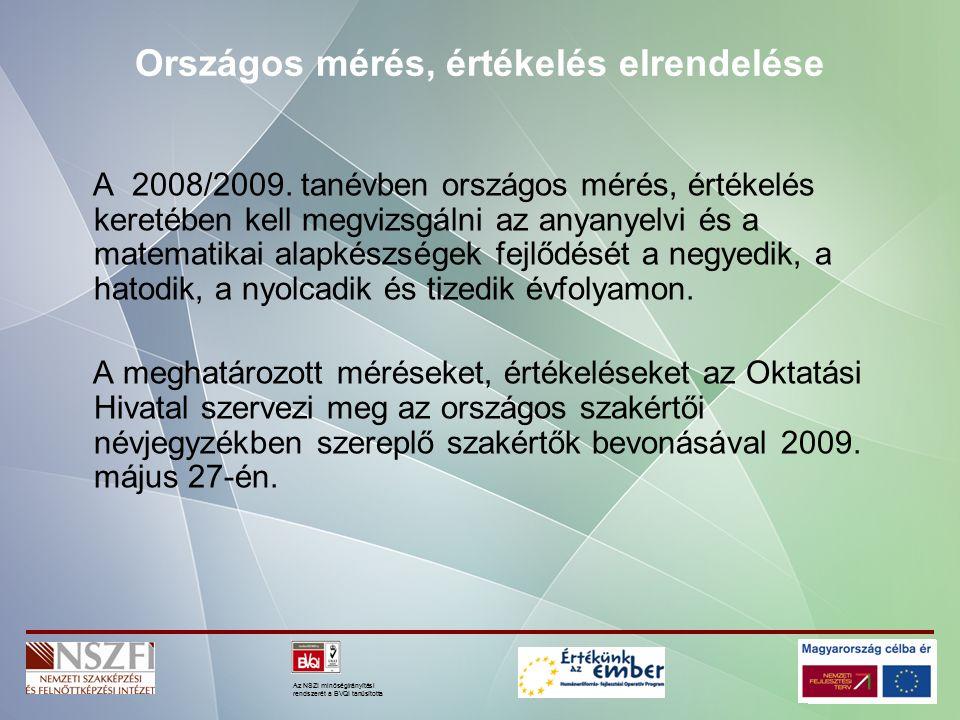 Az NSZI minőségirányítási rendszerét a BVQI tanúsította Országos mérés, értékelés elrendelése A 2008/2009.