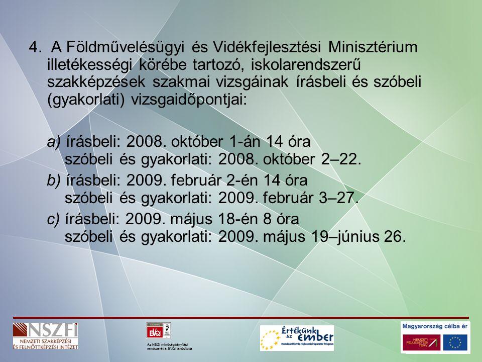 Az NSZI minőségirányítási rendszerét a BVQI tanúsította A tanulmányi versenyek A szakképesítésért felelős miniszter az általa kiírt szakmai tanulmányi versenyre vonatkozó felhívást 2008.