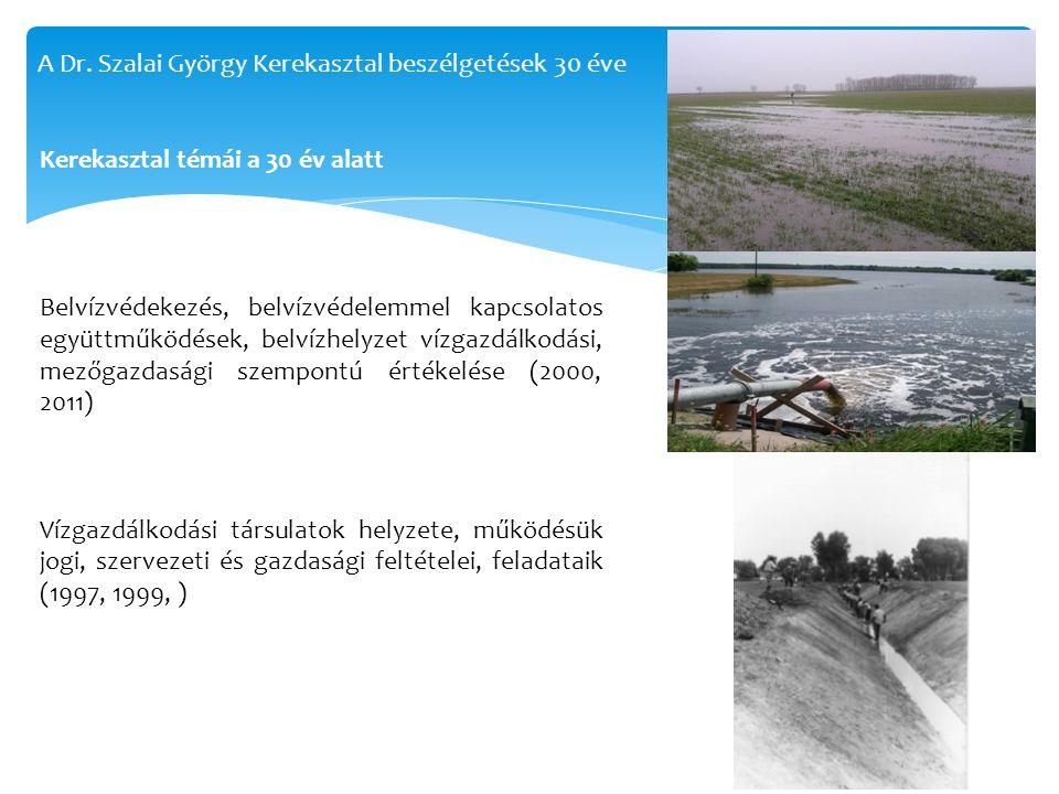 Belvízvédekezés, belvízvédelemmel kapcsolatos együttműködések, belvízhelyzet vízgazdálkodási, mezőgazdasági szempontú értékelése (2000, 2011) Vízgazdálkodási társulatok helyzete, működésük jogi, szervezeti és gazdasági feltételei, feladataik (1997, 1999, ) Kerekasztal témái a 30 év alatt A Dr.