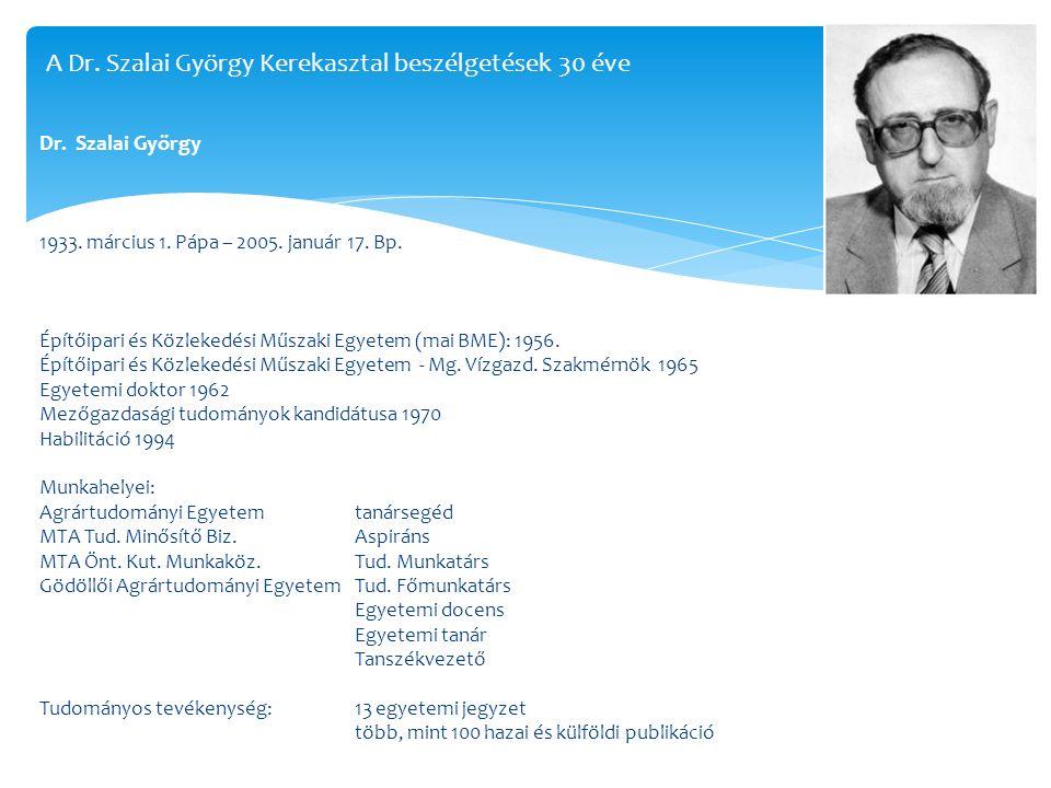 Dr. Szalai György 1933. március 1. Pápa – 2005. január 17. Bp. Építőipari és Közlekedési Műszaki Egyetem (mai BME): 1956. Építőipari és Közlekedési Mű