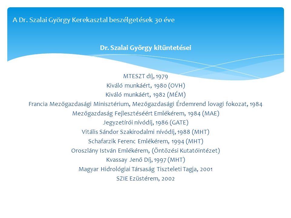 Dr. Szalai György kitüntetései MTESZT díj, 1979 Kiváló munkáért, 1980 (OVH) Kiváló munkáért, 1982 (MÉM) Francia Mezőgazdasági Minisztérium, Mezőgazdas