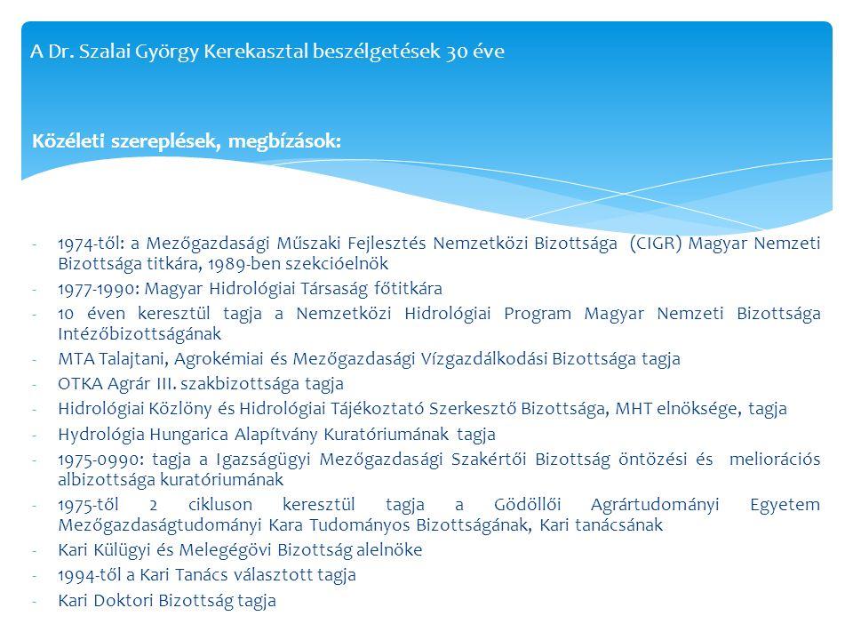 Közéleti szereplések, megbízások: -1974-től: a Mezőgazdasági Műszaki Fejlesztés Nemzetközi Bizottsága (CIGR) Magyar Nemzeti Bizottsága titkára, 1989-b