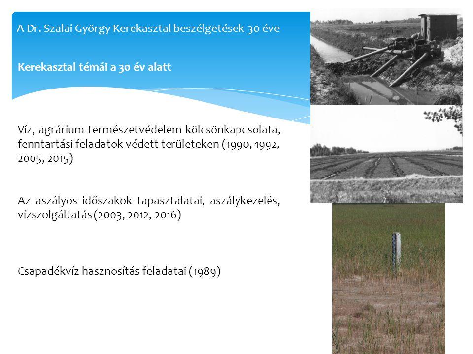 Kerekasztal témái a 30 év alatt Víz, agrárium természetvédelem kölcsönkapcsolata, fenntartási feladatok védett területeken (1990, 1992, 2005, 2015) Az