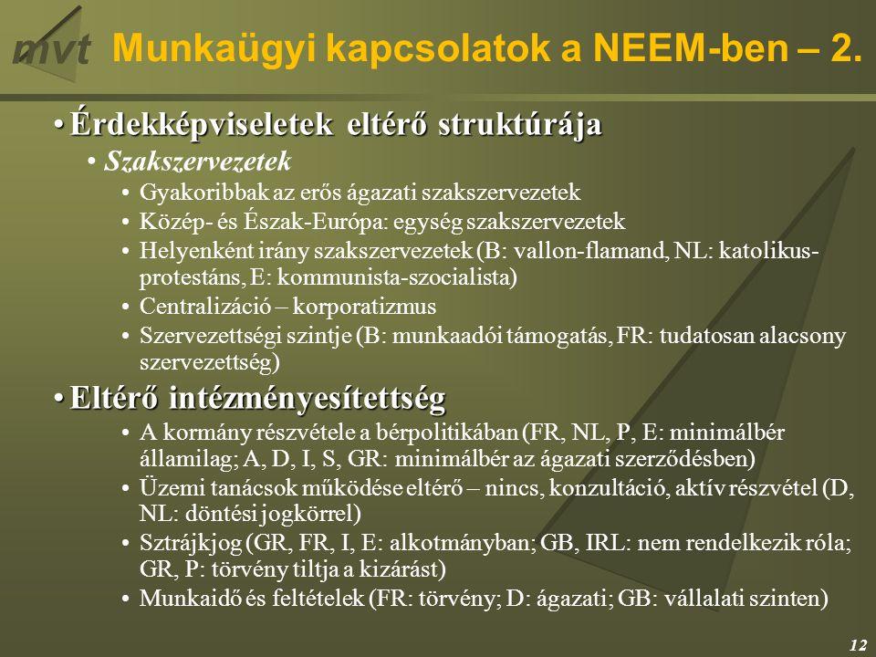 mvt Munkaügyi kapcsolatok a NEEM-ben – 2. Érdekképviseletek eltérő struktúrájaÉrdekképviseletek eltérő struktúrája Szakszervezetek Gyakoribbak az erős