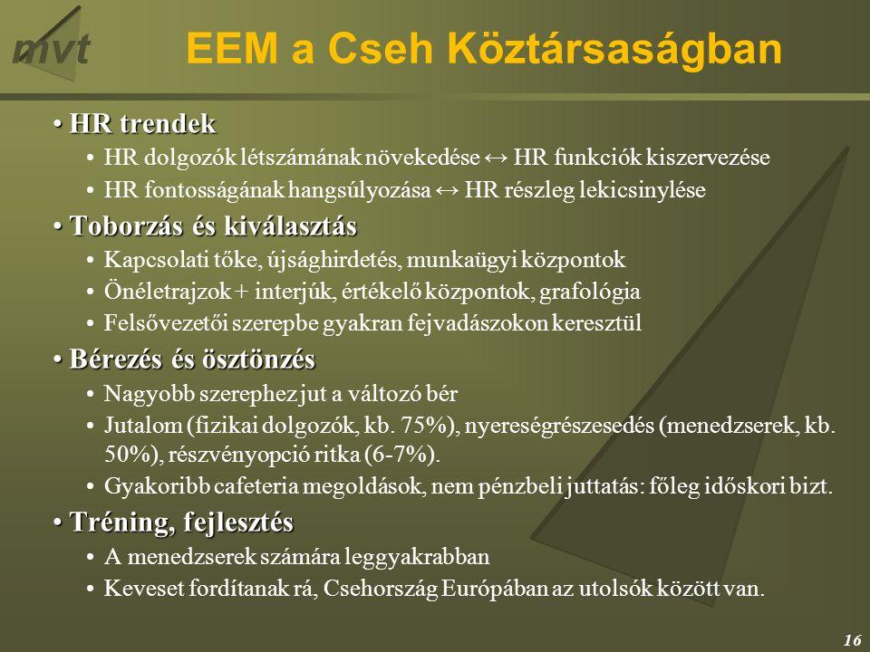 mvtEEM a Cseh Köztársaságban HR trendekHR trendek HR dolgozók létszámának növekedése ↔ HR funkciók kiszervezése HR fontosságának hangsúlyozása ↔ HR ré