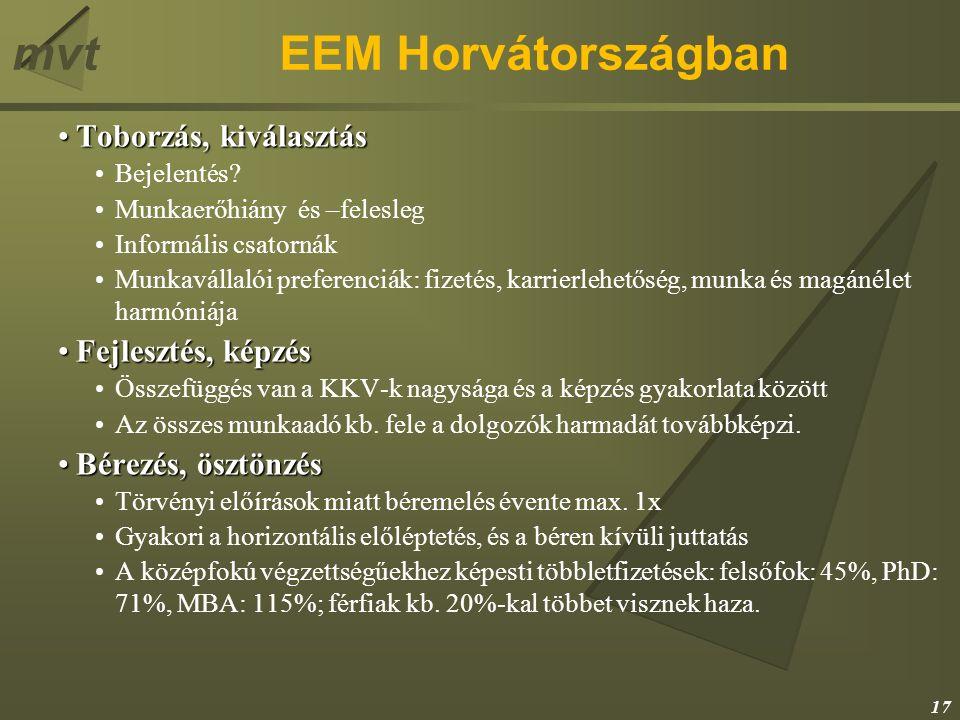mvtEEM Horvátországban Toborzás, kiválasztásToborzás, kiválasztás Bejelentés? Munkaerőhiány és –felesleg Informális csatornák Munkavállalói preferenci