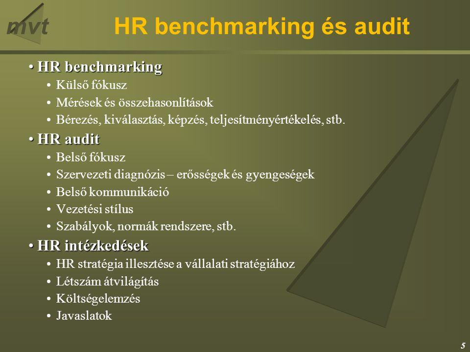 mvtHR benchmarking és audit HR benchmarkingHR benchmarking Külső fókusz Mérések és összehasonlítások Bérezés, kiválasztás, képzés, teljesítményértékelés, stb.
