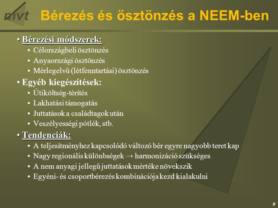 mvtBérezés és ösztönzés a NEEM-ben Bérezési módszerek:Bérezési módszerek: Célországbeli ösztönzés Anyaországi ösztönzés Mérlegelvű (létfenntartási) ösztönzés Egyéb kiegészítések: Útiköltség-térítés Lakhatási támogatás Juttatások a családtagok után Veszélyességi pótlék, stb.