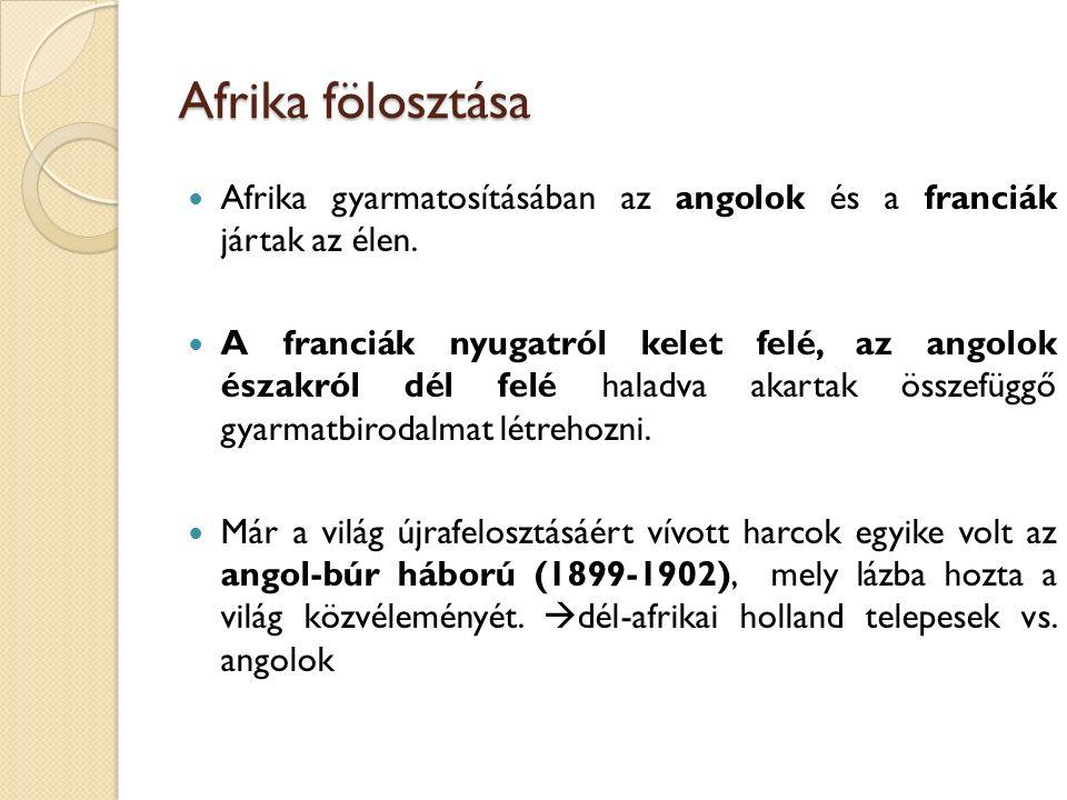 Afrika fölosztása Afrika gyarmatosításában az angolok és a franciák jártak az élen.