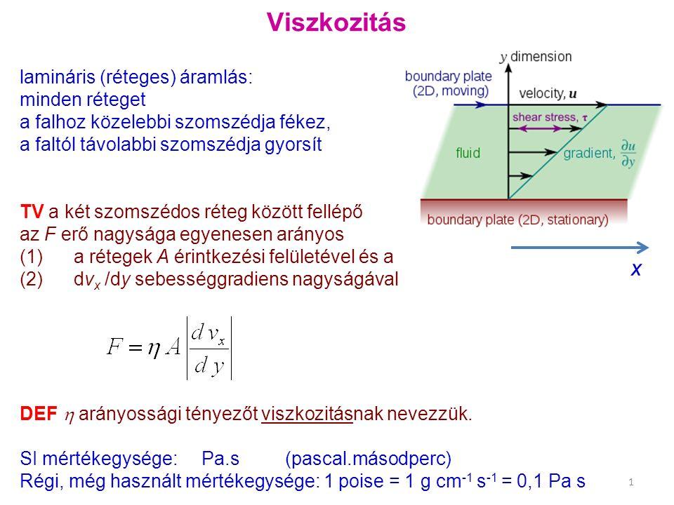 Viszkozitás lamináris (réteges) áramlás: minden réteget a falhoz közelebbi szomszédja fékez, a faltól távolabbi szomszédja gyorsít TV a két szomszédos réteg között fellépő az F erő nagysága egyenesen arányos (1) a rétegek A érintkezési felületével és a (2) dv x /dy sebességgradiens nagyságával DEF  arányossági tényezőt viszkozitásnak nevezzük.