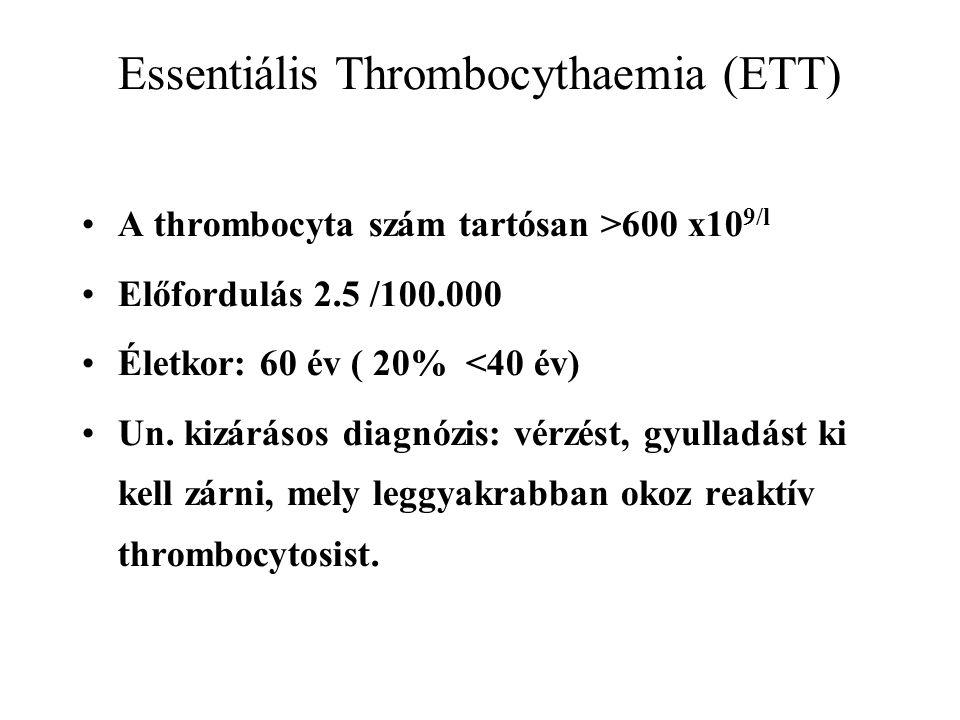 Essentiális Thrombocythaemia (ETT) A thrombocyta szám tartósan >600 x10 9/l Előfordulás 2.5 /100.000 Életkor: 60 év ( 20% <40 év) Un.