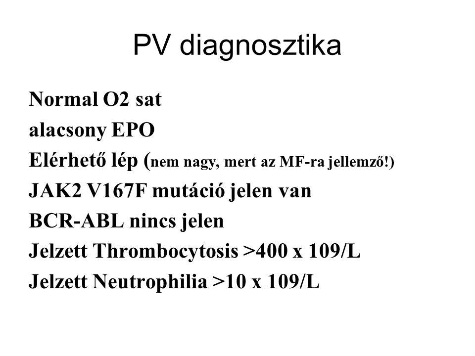 PV diagnosztika Normal O2 sat alacsony EPO Elérhető lép ( nem nagy, mert az MF-ra jellemző!) JAK2 V167F mutáció jelen van BCR-ABL nincs jelen Jelzett Thrombocytosis >400 x 109/L Jelzett Neutrophilia >10 x 109/L