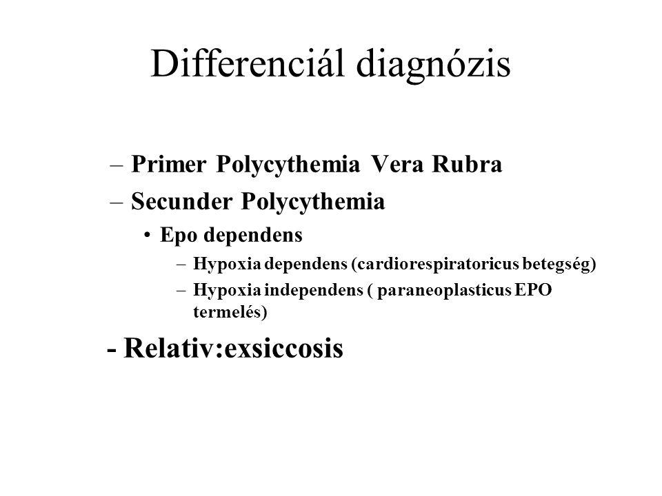 Differenciál diagnózis –Primer Polycythemia Vera Rubra –Secunder Polycythemia Epo dependens –Hypoxia dependens (cardiorespiratoricus betegség) –Hypoxia independens ( paraneoplasticus EPO termelés) - Relativ:exsiccosis