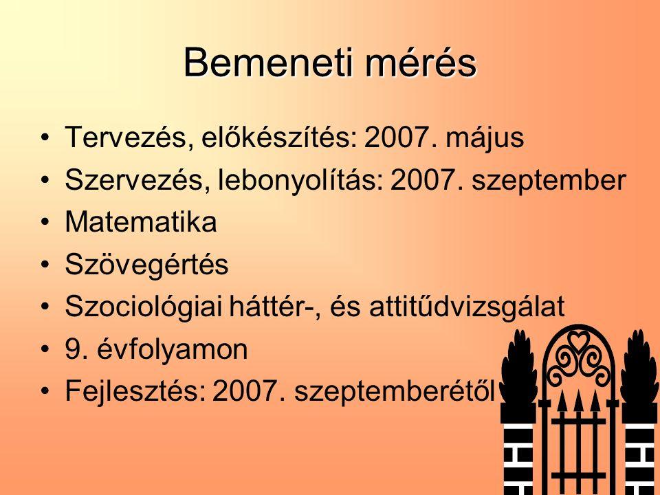 Bemeneti mérés Tervezés, előkészítés: 2007. május Szervezés, lebonyolítás: 2007.