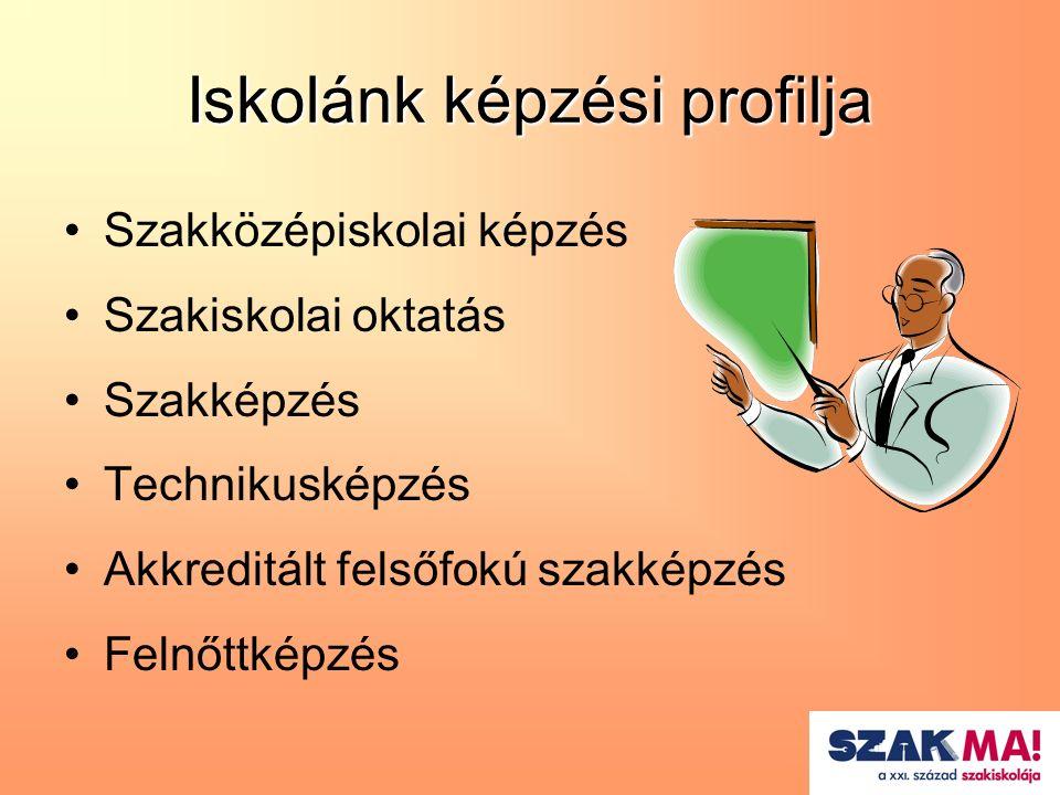 Iskolánk képzési profilja Szakközépiskolai képzés Szakiskolai oktatás Szakképzés Technikusképzés Akkreditált felsőfokú szakképzés Felnőttképzés