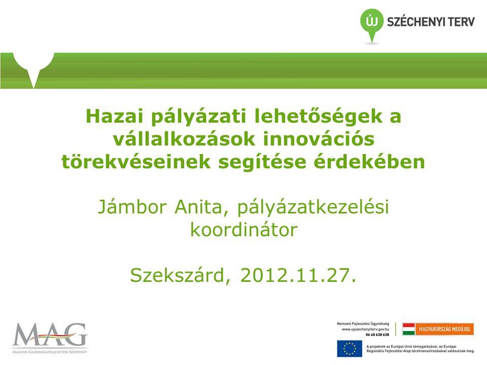 Hazai pályázati lehetőségek a vállalkozások innovációs törekvéseinek segítése érdekében Jámbor Anita, pályázatkezelési koordinátor Szekszárd, 2012.11.27.